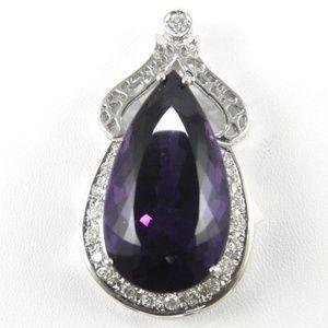 Jewelry - Purple Amethyst & Diamond Pendant 14K WG 35.16Ct